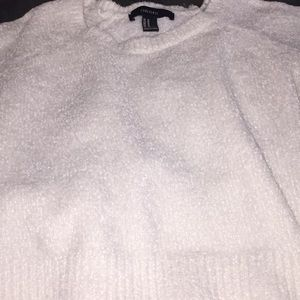 Forever 21 Soft Fuzzy Snow White Cropped Sweater M